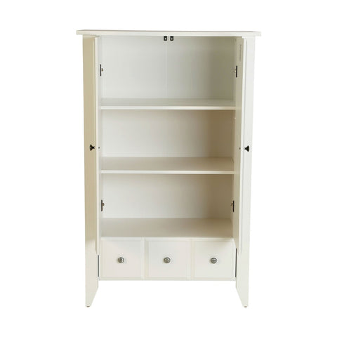 Classic Bedroom Armoire Wardrobe Cabinet in Soft White Wood Finish
