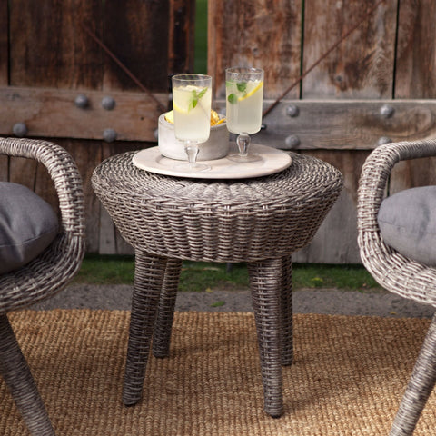 Image of Outdoor Resin Wicker Patio Furniture Set with 2 Chairs Cushions and Side Table