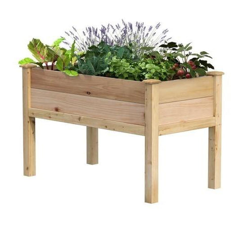 Image of Farmhouse 2-ft x 4-ft Cedar Wood Raised Garden Bed Planter Box - Made in USA