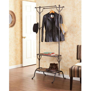 Rustic Entryway Hanger Bench Storage Hall Tree