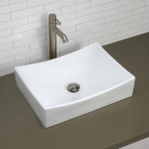 Image of Modern Rectangular White Ceramic Vessel Bathroom Sink with Curved Interior