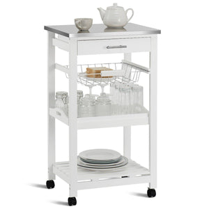 White Kitchen Cart with Storage Drawer and Stainless Steel Top