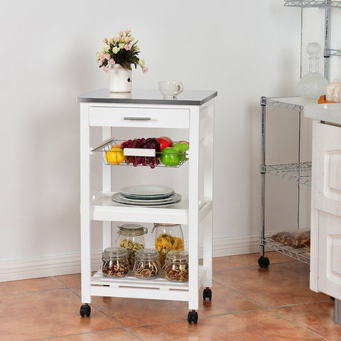 Image of White Kitchen Cart with Storage Drawer and Stainless Steel Top