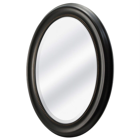 Round Oval Bathroom Wall Mirror with Beveled Edge and Bronze Frame