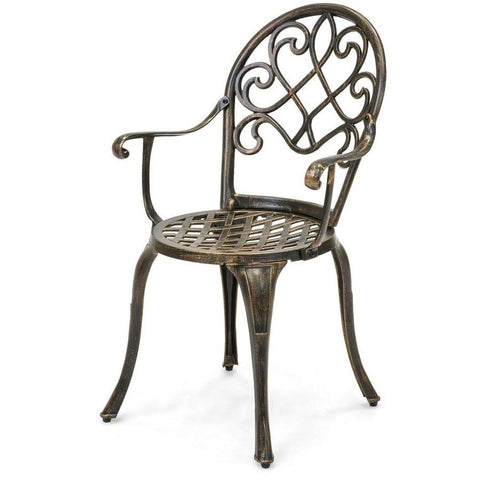 Image of Outdoor 3-Piece Patio Furniture Bistro Set in Antique Copper Finish