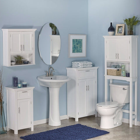 Image of White Bathroom Wall Cabinet Cupboard with Open Shelf