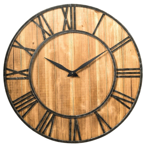Image of Round Wood 30-inch Roman Numeral Silent Wall Clock