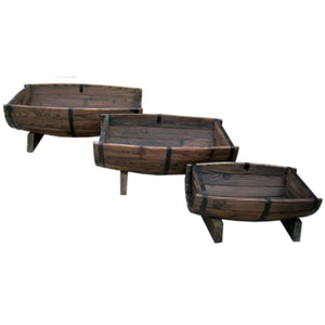 Set of 3 - Half Barrel Wood Planters