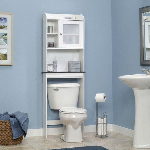 White Space Saving Over Toilet Bathroom Cabinet with 2 Adjustable Shelves