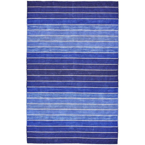 Image of 8' x 11' Striped Hand-Tufted Wool/Cotton Blue Area Rug