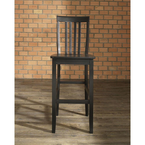 Image of Set of 2 - 30-inch Solid Hardwood Bar Stools in Black Finish