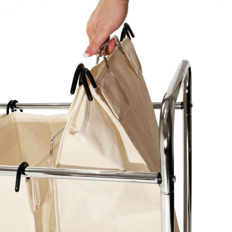 Image of Commercial-Grade Steel Frame 3-Bag Laundry Hamper Cart