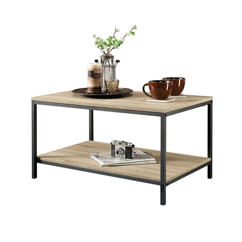 Image of Black Metal Frame Coffee Table with Oak Finish Wood Top and Shelf