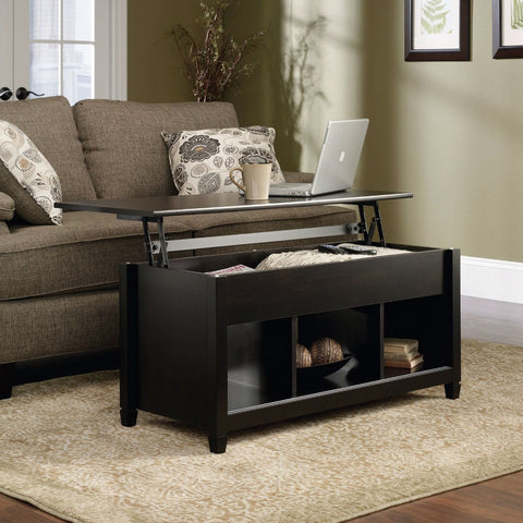 Image of Black Wood Finish Lift-Top Coffee Table with Bottom Storage Space