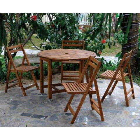 Image of Set of 4- Outdoor Wooden Folding Patio Chairs