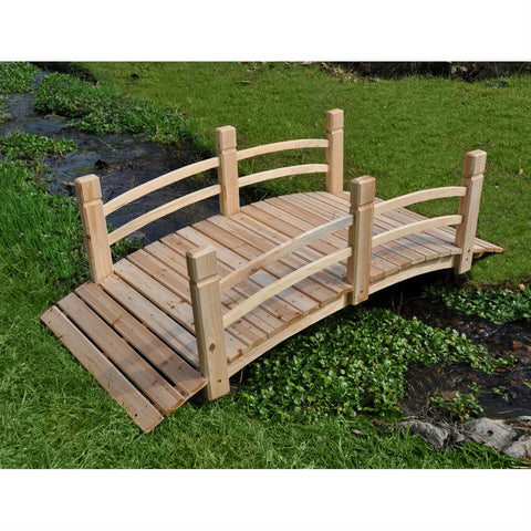 Image of 5-Ft Cedar Wood Garden Bridge with Railings in Natural Finish