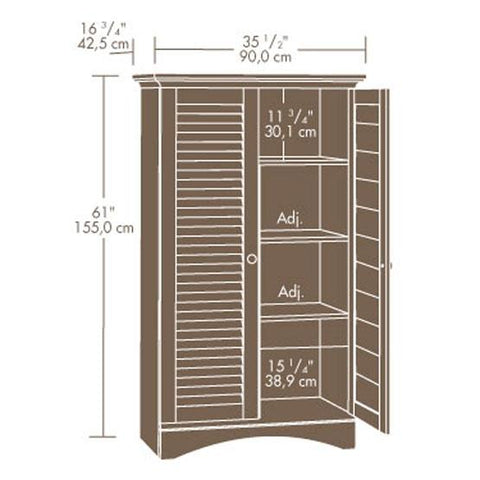 Image of Louver 2-Door Storage Cabinet Bed Bath Armoire Wardrobe in Antique White