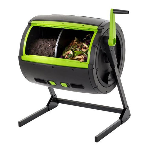 Image of Rotating 65-Gallon Compost Bin Tumbler with 2 Compartments