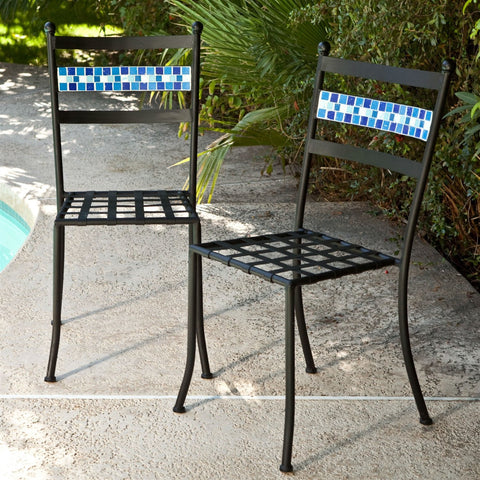 Image of Set of 2 Black Powder Coated Metal Patio Bistro Chairs with Aqua Blue Backrest