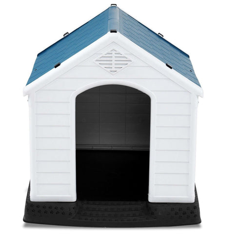 Image of Small Outdoor Heavy Duty Blue and White Plastic Dog House