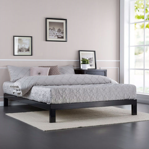 Image of Queen Modern Black Metal Platform Bed Frame with Wooden Slats