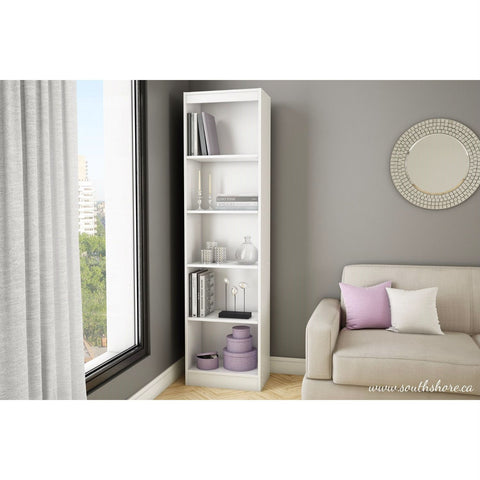 Image of 5-Shelf Narrow Bookcase Storage Shelves in White Wood Finish