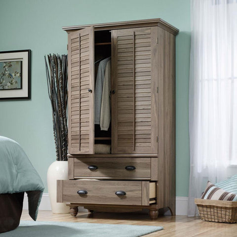 Image of Wardrobe Cabinet Bedroom Storage or TV Armoire in Medium Brown Oak Finish