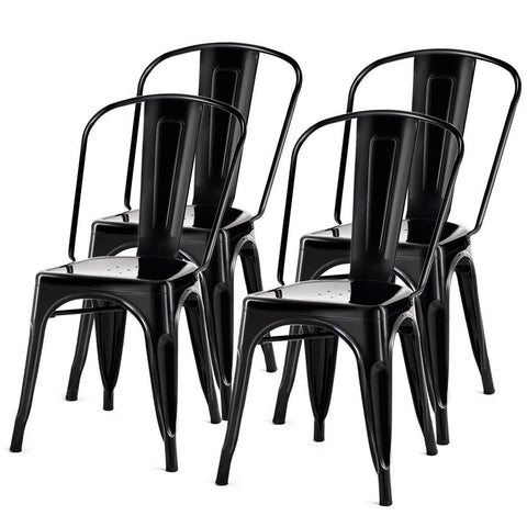 Image of Set of 4 Indoor Outdoor Black Metal Stacking Bistro Dining Chairs