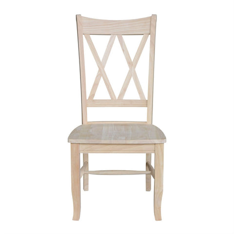 Image of Set of 2 - Traditional Unfinished Wood Dining Chairs