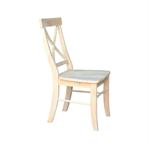 Image of Set of 2 - Unfinished Wood Dining Chairs with X-Back Seat Backrest
