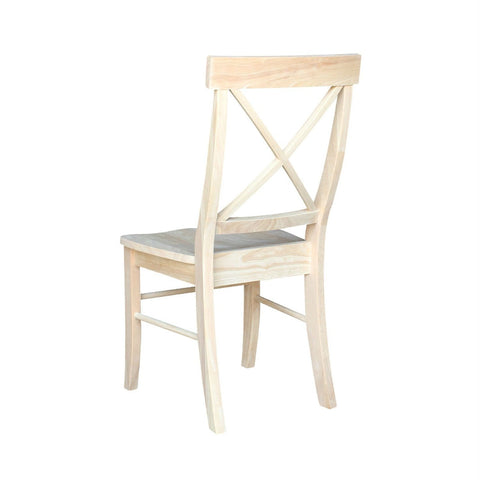 Set of 2 - Unfinished Wood Dining Chairs with X-Back Seat Backrest