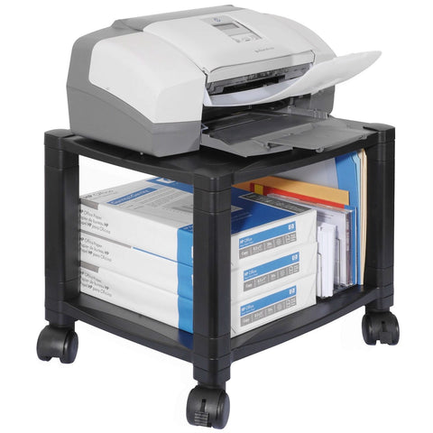 Image of Sturdy 2-Shelf Mobile Printer Stand Cart in Black with Locking Casters