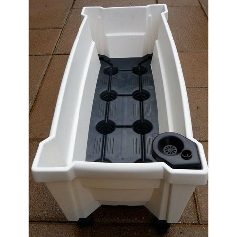 Image of Indoor/Outdoor White Plastic Self Watering Planter with Trellis on Wheels