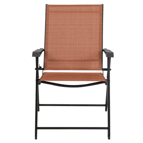 Image of Set of 2 Outdoor Folding Patio Chairs in Brick Red Brown with Black Metal Frame