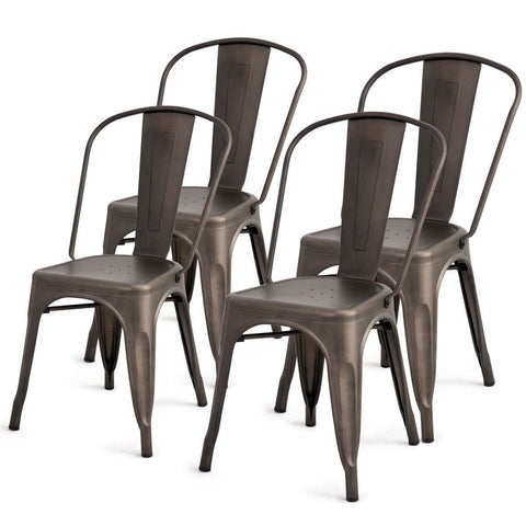 Set of 4 Indoor Outdoor Metal Stackable Bistro Dining Chairs in Copper Finish