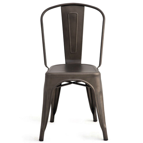 Image of Set of 4 Indoor Outdoor Metal Stackable Bistro Dining Chairs in Copper Finish