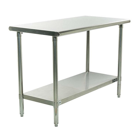 Image of Stainless Steel Top Food Safe Prep Table Utility Work Bench with Bottom Shelf