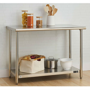 Stainless Steel Top Food Safe Prep Table Utility Work Bench with Bottom Shelf