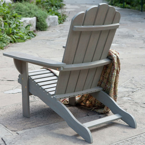 Outdoor Weather Resistant Eucalyptus Wood Adirondack Chair in Driftwood Finish