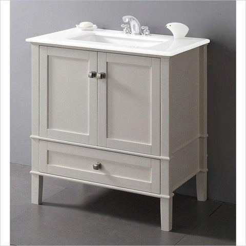 Image of Contemporary Bathroom Vanity in Soft White with Marble Top and Rectangle Sink