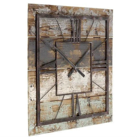 Square 27.5-inch Wood and Metal Wall Clock Industrial Style