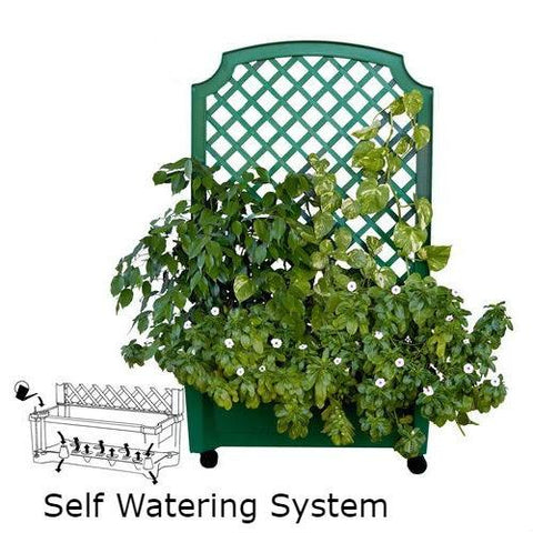 Image of Indoor/Outdoor Green Polypropylene Wheeled Trellis Planter