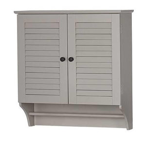 Wall Mounted Bathroom Cabinet with Shelves and Towel Bar in Taupe