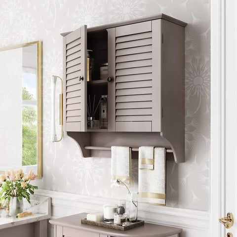 Image of Wall Mounted Bathroom Cabinet with Shelves and Towel Bar in Taupe