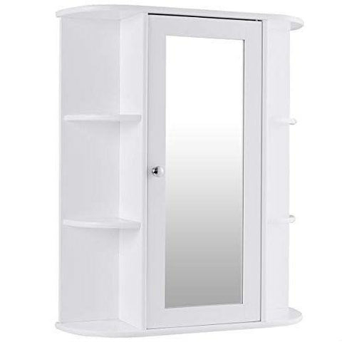 Image of White Bathroom Wall Mounted Medicine Cabinet with Storage Shelves