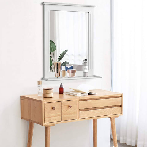 Image of White Rectangle Bedroom Bathroom Vanity Wall Mirror with Bottom Shelf
