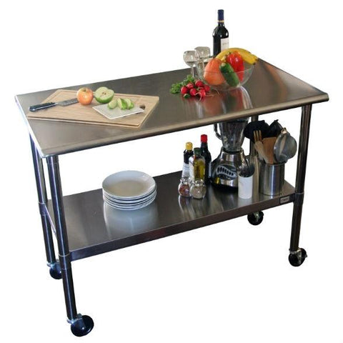 Image of Stainless Steel 2-ft Kitchen Island Cart Prep Table with Casters
