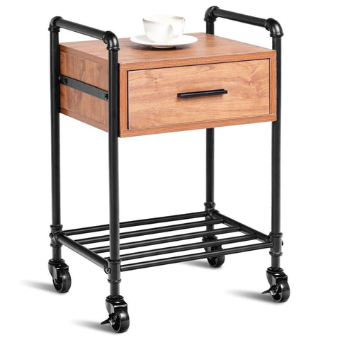 Heavy Duty Steel Frame 1-Drawer End Table Nightstand Side Table on Wheels
