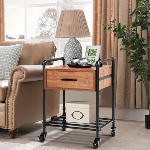Image of Heavy Duty Steel Frame 1-Drawer End Table Nightstand Side Table on Wheels