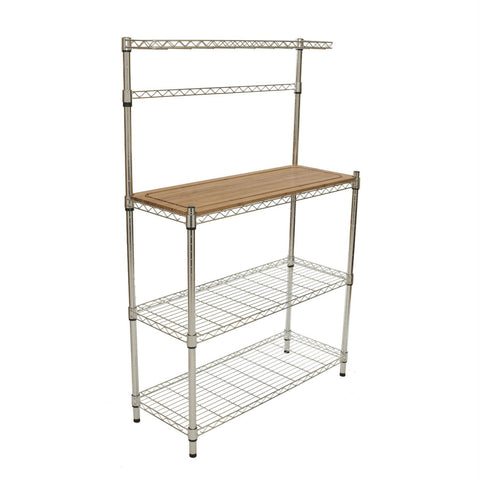 Image of Metal Bakers Rack with Hanging Bar and Bamboo Cutting Board